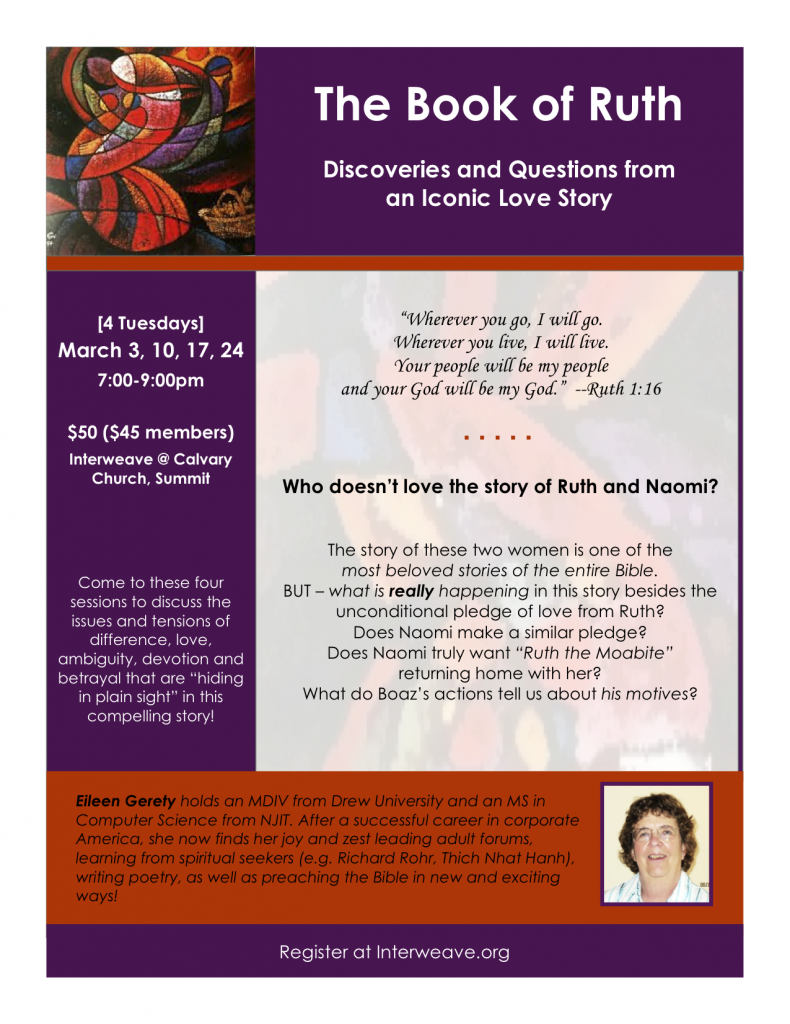 The Book of Ruth: Discoveries and Questions from an Iconic Love Story @ Interweave (Calvary Church, Summit)