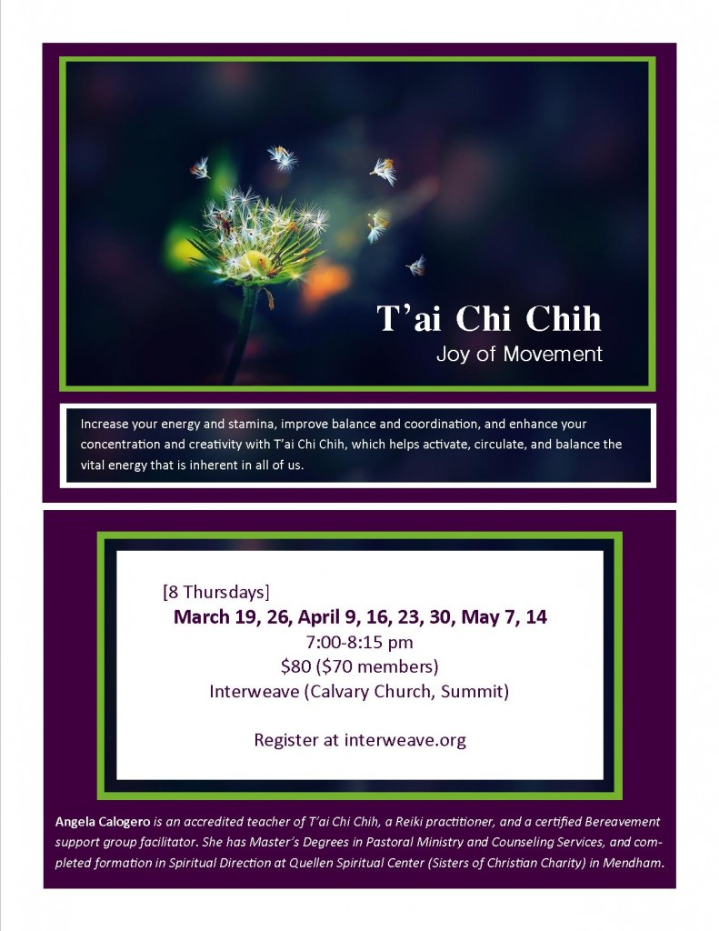 T'ai Chi Chih- CANCELLED @ Interweave @ Calvary Church | Summit | New Jersey | United States